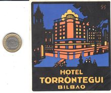 ETIQUETA DE HOTEL  - HOTEL TORRONTEGUI  -BILBAO - Etiquettes D'hotels