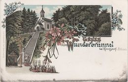 Litho AK Gruß Wunderbrünnel Kirche Ketzelsdorf Koclerov Vitezna Königreich I II Hegerbusch Güntersdorf Mastig Kottwitz - Sudeten