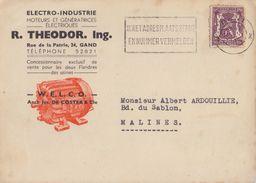BELGIË/BELGIQUE :1949: Illustrated Cover:## R. THEODOR Ing., Rue De La Patrie, 24, GAND ##:MOTEUR,GÉNÉRATRICE ÉLECTRIQUE - Electricity & Gas