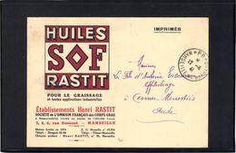 Marseille : Port Payé 1941 Sur Carte Publicitaire Des établissements Henri Rastit. - Marcophilie (Lettres)