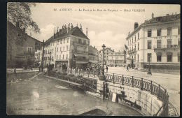 ANNECY - Le Pont Et La Rue Du Paquier - Hotel VERDUN - CPA  Voyagée 1912   -Paypal Sans Frais - Annecy