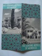 LES GRANDS HOTELS AU MAROC. THE LEADING HOTELS OF MOROCCO - 1950. HOTEL LA MAMOUNIA, PALAIS JAMAÏ, TRANSATLANTIQUE. - Toeristische Brochures