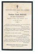 IMAGE PIEUSE..AVIS De DECES MEMENTO.. Me Emile BOURCE Née Marie PLANCHENAULT, Décédée En 1915, à L'âge De 73 Ans - Imágenes Religiosas