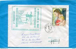 """MARCOPHILIE- Lettre- Cad 1987 Lyon Gerland+cachet """"2° Transport Exceptionnel De Courrier   Sur Le Rhone""""Certifié"""" - Marcophilie (Lettres)"""