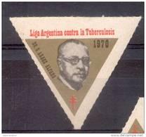 LIGA ARGENTINA CONTRA LA TUBERCULOSIS VIÑETA LABEL DR. GREGORIO ARAOZ ALFARO AÑO 1970 REPUBLICA ARGENTINA RARE - Fantasie Vignetten