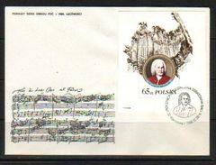 POLAND FDC 1985 300TH BIRTH ANNIVERSARY JOHANN SEBASTIAN BACH COMPOSER MS MINIATURE SHEET Music - FDC