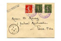"""!!! SEMEUSES SUR LETTRE RECO DE LILLE DU 17/11/1918 POUR PARIS, CACHET VIOLET """"LILLE RECONQUIS - PTT"""" - Postmark Collection (Covers)"""