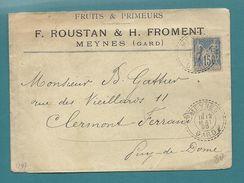 Gard - Meynes Pour Clermont Ferrand.  FRUITS ET PRIMERURS. Cachet Tireté. Beau Document - Postmark Collection (Covers)