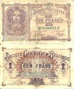 BELGIUM BELGIQUE 1 FRANC (4/10/1917) Pick 86b TB+ (F) - Sin Clasificación