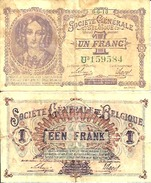 BELGIUM BELGIQUE 1 FRANC (6/6/1918) Pick 86b TB+ (F) - Sin Clasificación