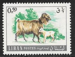 Lebanon, Scott # 453 Mint Hinged Goat, Kid, 1968 - Lebanon