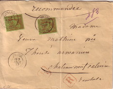 VAUCLUSE - ORANGE - SAGE - LETTRE RECOMMANDEE AVEC 2x20c N°96 - LETTRE DU 3 AOUT 1887 - CACHET DE CIRE AU VERSO. - Postmark Collection (Covers)