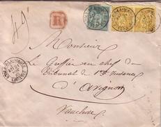 VAUCLUSE - L'ILE SUR LA SORGUE - SAGE - LETTRE RECOMMANDEE DU 21 NOVEMBRE 1882 - CACHET DE CIRE AU VERSO. - Postmark Collection (Covers)