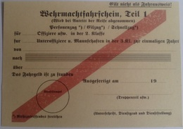 Documento Pase Trenes Wehrmacht. 1. Ejército Aleman. Alemania. 2ª Guerra Mundial. 1939-1945. Réplica - Documentos