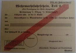 Documento Pase Trenes Wehrmacht. 2. Ejército Aleman. Alemania. 2ª Guerra Mundial. 1939-1945. Réplica - Documentos