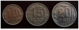 1957 Lot CCCP Rusland Rusia Coin Münze 3 X Alte Kopeke Kopeik Kopeek - Russie