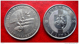 Lithuania 1 Litas 1999 Baltic Way Latvia , Estonia ,10 Years ,horseman ,soldier - Lituanie