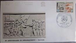 Enveloppe FDC 497 - 1964 - Débarquement - YT 1409 - Bayeux - 1960-1969