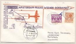 Nederland - 1936 - 1e Vlucht Amsterdam-Boedapest - Traject Amsterdam-Praag - Rolzegels - Brieven En Documenten