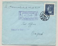 Nederland - 1946 - 1 Gulden Konijnenburg Enkelfrankering Op 1e Vlucht Amsterdam - New York / USA - 1891-1948 (Wilhelmine)