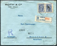 1913 Greece Roth & Co. Piree Piraeus Registered Cover - Munchen, Germany - Greece