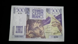 """500 Fr """"Chateaubriand """"7/02/1946 SUP - 1871-1952 Circulated During XXth"""