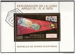 Bf. 61 Guinea Equatoriale 1973 Apollo 13 Gold Art Sheet Astronauti Lovell Haise Swigert Perf. - Guinée Equatoriale