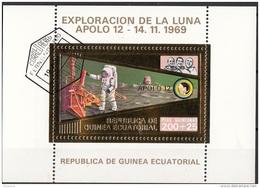 Bf. 60 Guinea Equatoriale 1973 Apollo 12 Gold Art Sheet Astronauti Conrad Gordon Bean Perf. - Guinée Equatoriale
