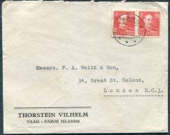 1945 Faroe Islands Thorstein Vilhelm VAAG Cover - London - Faroe Islands