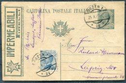 1921 Italy Uprated 15c Pirelli Advertising Stationery Postcard Bozen - Leipzig, Germany - 1900-44 Vittorio Emanuele III