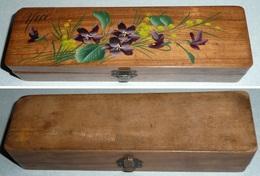 Rare Ancien Plumier Boite En Bois à Décor De Fleurs Violettes NICE Pensées Mimosas - Unclassified