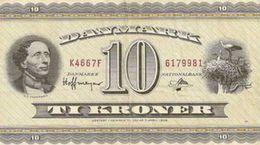 DENMARK 10 KRONER 1954 P-44a F/VF S/N 6179981 [DK914a] - Denmark