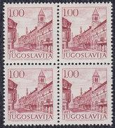 Yugoslavia 1971 Definitive (1,00 Din) Shiny Gum Block Of 4, MNH (**) Michel 1430 Zx; Perforation 13¼ - Ungebraucht