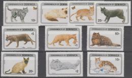 *~* MAKE AN OFFER *~* -  DOMINICA - 1984 Set Of Ten CATS. Scott 875-884. MNH ** - Dominica (1978-...)