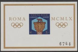 *~* MAKE AN OFFER *~* -  COSTA RICA - 1960 Olympic Games  IMPERF Souvenir Sheet. Scott C313. MNH ** - Costa Rica