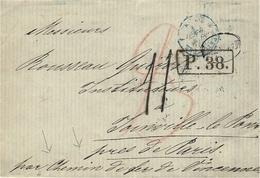 1869 -lettre En Port Du De Moscou -taxe 11  (+8 Rouge T &T ) + Marque D´échange P. 38 . Encadrée - 1857-1916 Empire