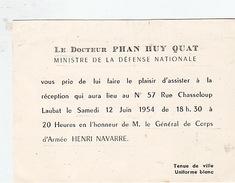 Vietnam. Phan Huy Quat, Ministre De La Défense Nationale. Général De Corps D'Armée Henri Navarre. 1954 - Dokumente