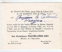 Tran-Van-Trai, Ancien Chef Du Cabinet Civil De Sa Majesté, Chef De L'Etat Au Colonel Troyes.1955. - Dokumente