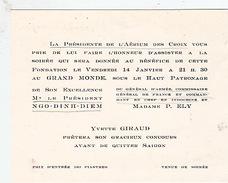 Aérium Des Croix,  Soirée Sous Le Haut Patronage  Du Président Du Vietnam Et Du Général D'Armée Paul Ely. Vers 1955. - Documents