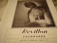 ANCIENNE PUBLICITE PARFUM REVILLON 1940 - Parfums & Beauté