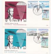 2 Enveloppes  FDC - Parachutisme-Officiële Omslag Van De Nationale Parachutistenclub - Timbres N°1133/8 - FDC