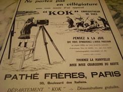 ANCIENNE PUBLICITE APPAREIL PHOTO KOK PATHE FRERE 1914 - Publicités