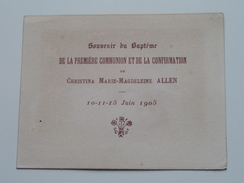 Souvenir Du Baptéme 1er Communion/Confirmation Christina Marie-Magdeleine ALLEN 10-11-15 Juin 1905 ! - Religión & Esoterismo