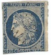 Timbre Cérès 25c N°4 France 1849 -1850 - 1849-1850 Cérès