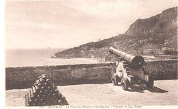 POSTAL  -MONACO  - PLAZA DEL PALACIO Y LOS CAÑONES-VISTA SOBRE LE CAP-FLEURÍ ( LA PLACE DU PALAIS ET LES CANONS  ) - Mónaco