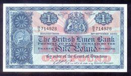 UK Great Britain Scotland BRITISH LINEN BANK 1 Pound 1961 P62 UNC - Ecosse