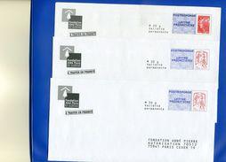 Lot De 3 PAP Réponse Différents Abbé Pierre 14P094 / 15P069 / 11P551 Ciappa Kavena / Beaujard - Entiers Postaux