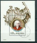 BM Polen 1985   MiNr Block 97 I (3012) (ohne Inschrift)   Used   300. Geburtstag Von Johann Sebastian Bach - Blocchi E Foglietti