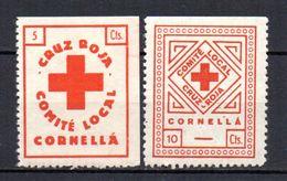 Viñetas Nº 8/9 Cruz Roja Cornella. - Viñetas De La Guerra Civil