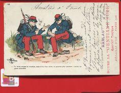 Apéritif Gentiane Suze HARLAUT Médaille D'or Paris 1900 Carte Publicitaire Illustrateur Guillaume Militaire Pied - Publicidad